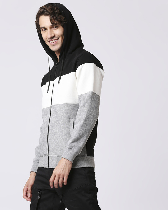 Shop Black Color Block Zipper Hoodie-Back