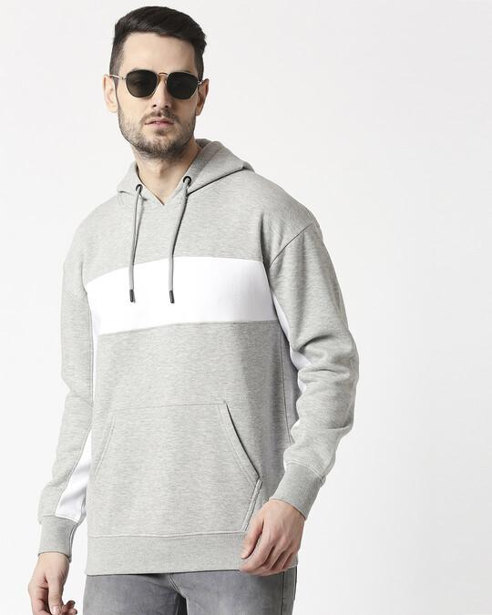 Shop Grey Melange Chest Panel Hoodie Sweatshirt-Front