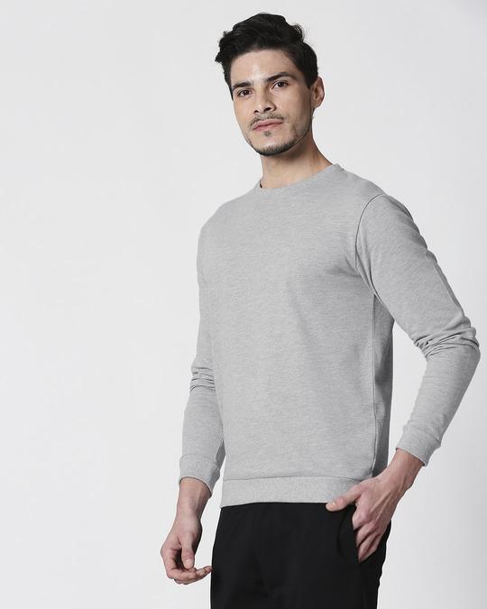 Shop Grey Melange Fleece Sweater-Back
