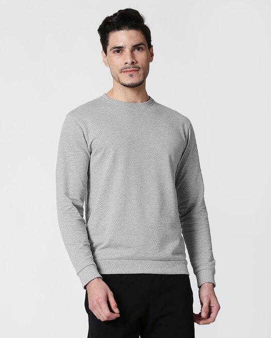 Shop Grey Melange Fleece Sweater-Front