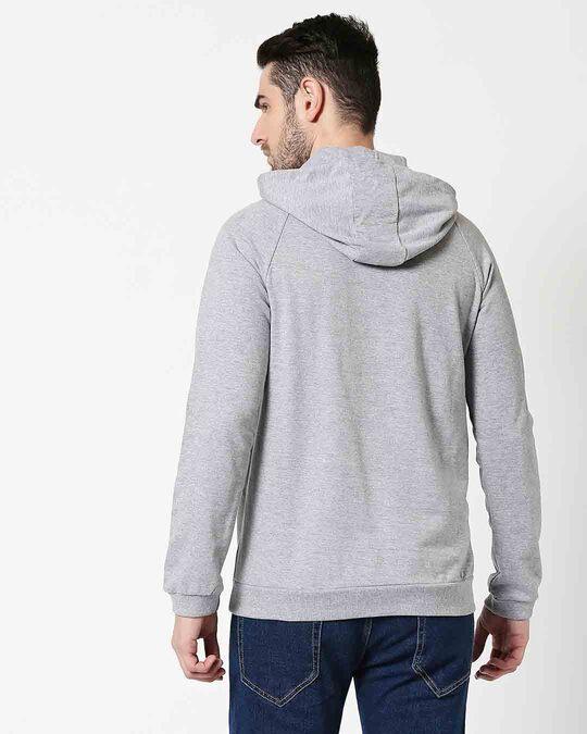 Shop Grey Melange Hoodie Sweatshirt-Full