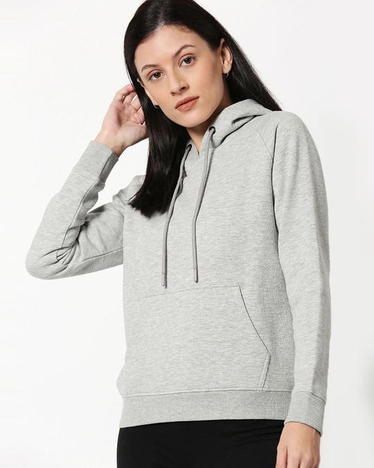 Shop Grey Melange Hoodie Sweatshirt-Front