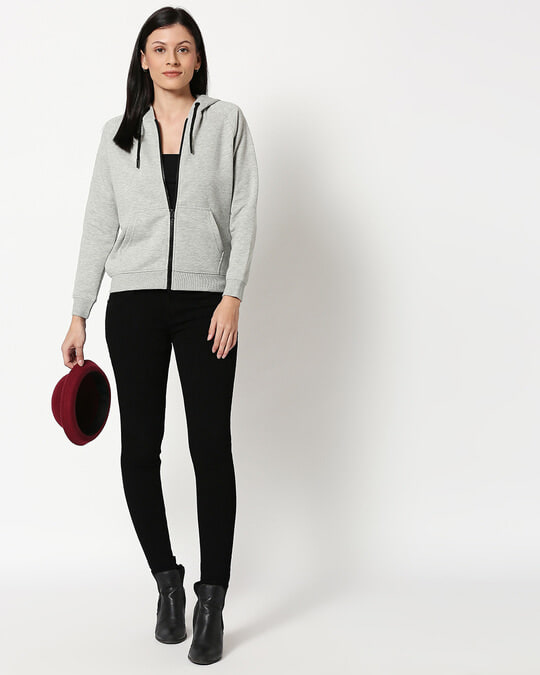 Shop Grey Melange Zipper Hoodie