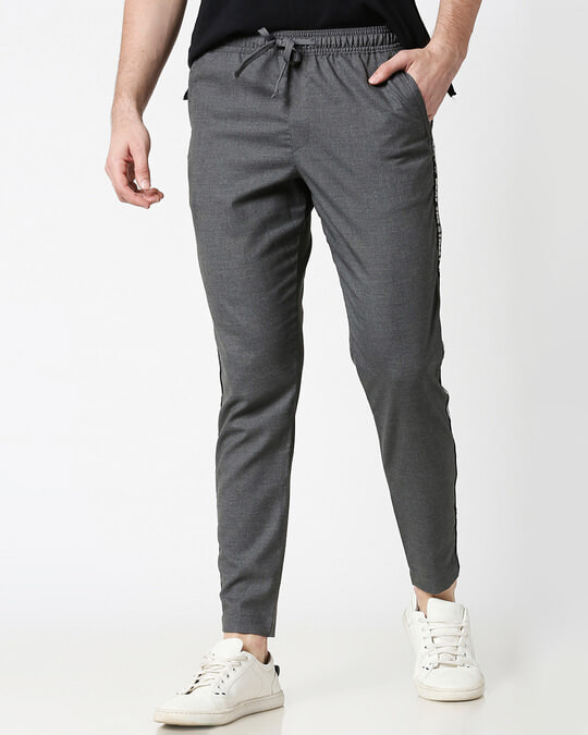 Shop Grey Men's Casual Jogger Pants-Front