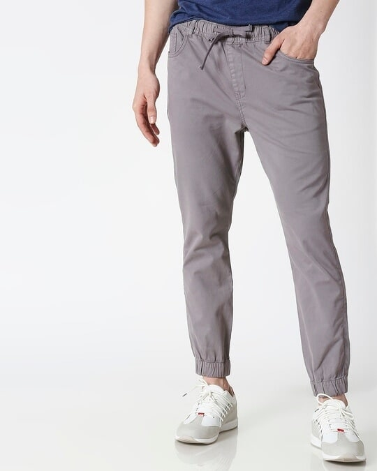 Shop Light Grey Mens's Chino Joggers-Front