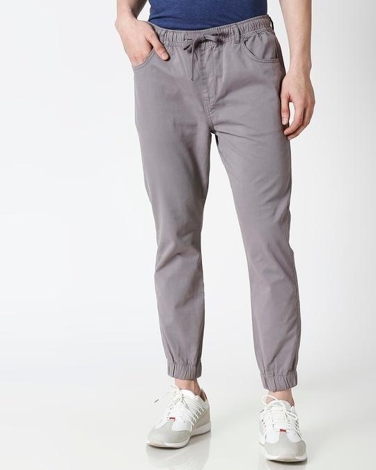 Shop Light Grey Mens's Chino Joggers-Back
