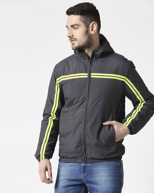 Shop Grey Neon Strip Jacket-Front