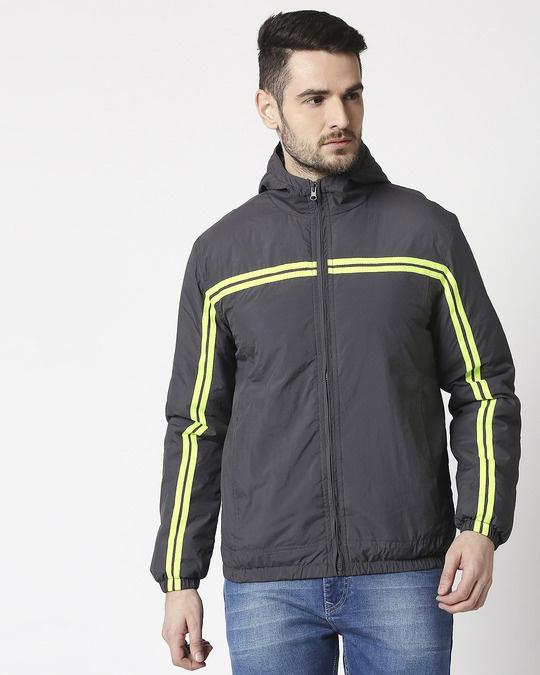 Shop Grey Neon Strip Jacket-Back