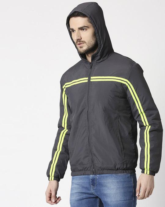 Shop Grey Neon Strip Jacket-Design