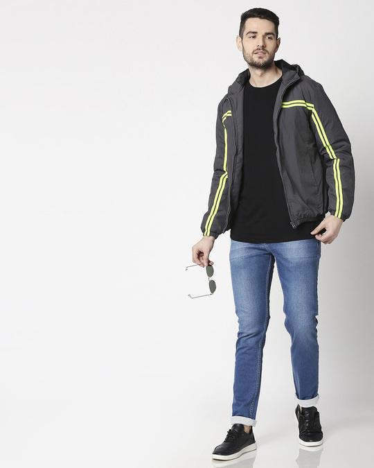 Shop Grey Neon Strip Jacket