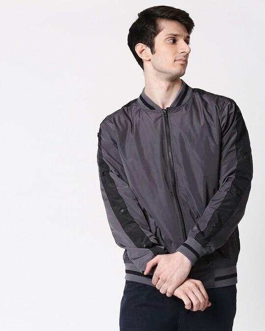 Shop Grey Scuba Strip Bomber Jacket-Front