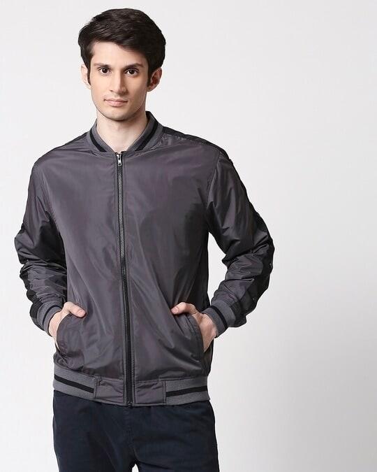 Shop Grey Scuba Strip Bomber Jacket-Back