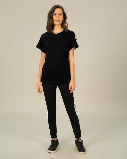 Shop Grey Stripes Side Panel Boyfriend T-Shirt