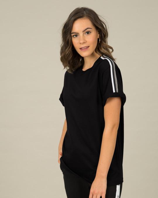 Shop Grey Stripes Side Panel Boyfriend T-Shirt-Front