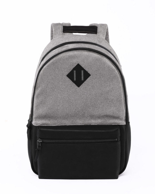 Shop Grey Suede Backpack-Front