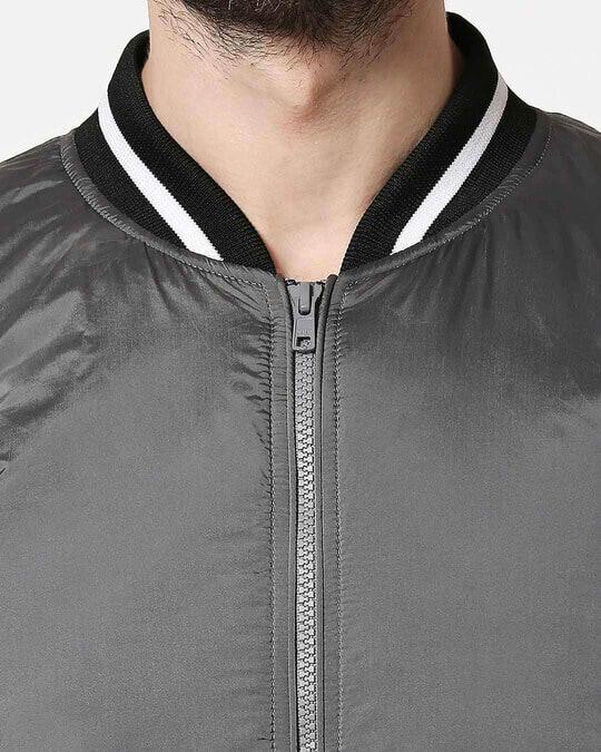 Shop Grey Utra Varsity Bomber Jacket