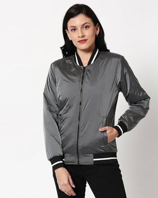 Shop Grey Utra Varsity Bomber Jacket-Back