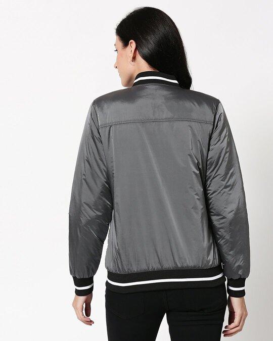 Shop Grey Utra Varsity Bomber Jacket-Full