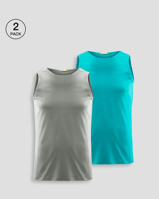 Shop Men's Plain Round Neck Vest Pack of 2 (Meteor Grey & Tropical Blue)-Front