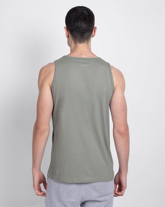 Shop Men's Plain Round Neck Vest Pack of 2 (Meteor Grey & Tropical Blue)-Full