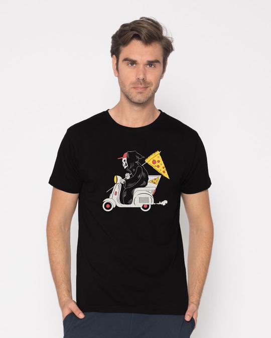 Shop Grim Pizza Half Sleeve T-Shirt-Back