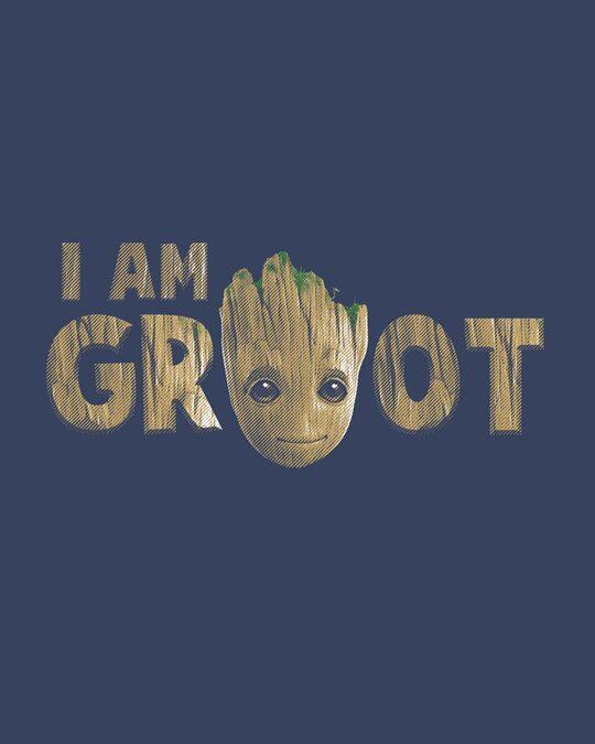 Shop Groot Face Half Sleeve T-Shirt (GOTGL)-Full