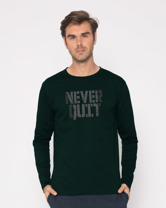 Shop Grunge Never Quit Full Sleeve T-Shirt-Front