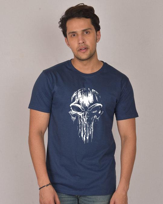 Shop Grunge Skull Logo Glow In Dark Half Sleeve T-Shirt -Back