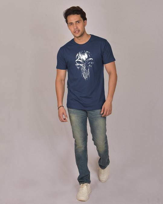Shop Grunge Skull Logo Glow In Dark Half Sleeve T-Shirt -Full