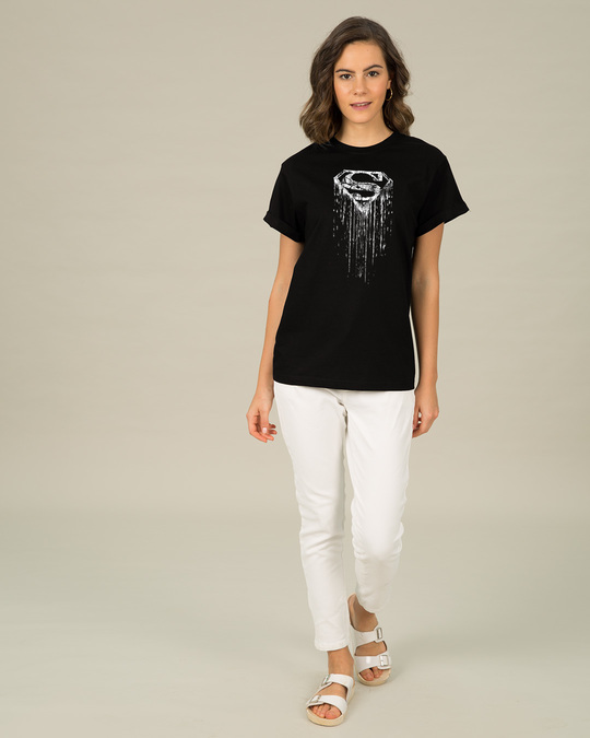 Shop Grunge Superman Glow In Dark Boyfriend T-Shirt (SL) -Design