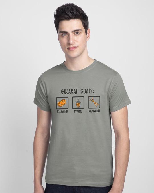 Shop Gujarati Goals Half Sleeve T-Shirt Meteor Grey-Front