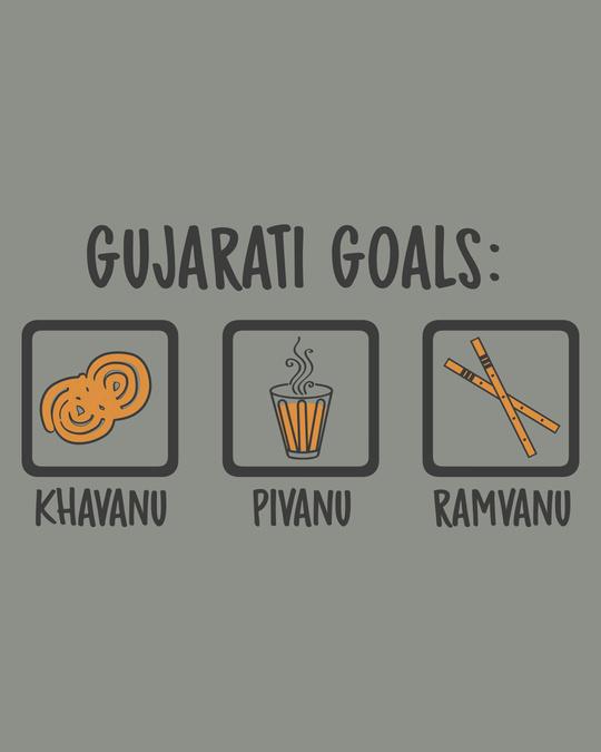 Shop Gujarati Goals Half Sleeve T-Shirt Meteor Grey-Full