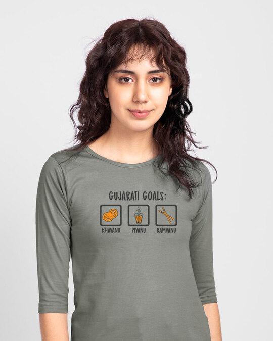Shop Gujarati Goals Round Neck 3/4 Sleeve T-Shirt Meteor Grey-Front