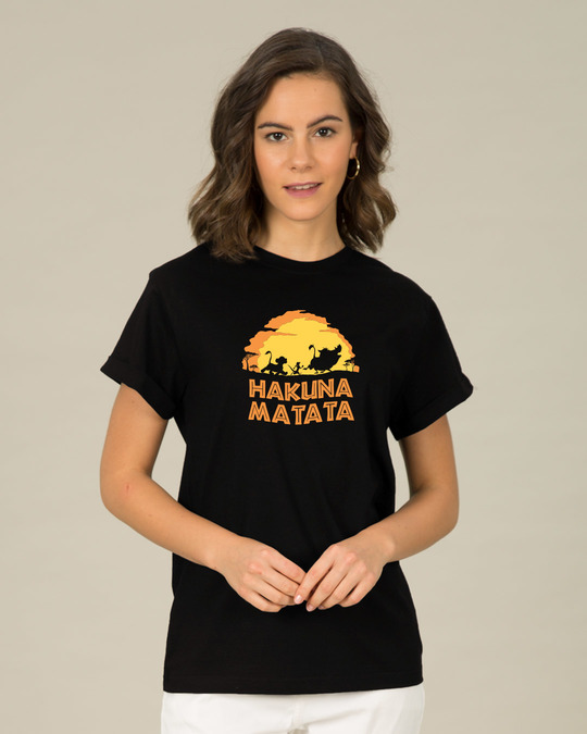 Shop Hakuna Matata Sunset Boyfriend T-Shirt (DL)-Front