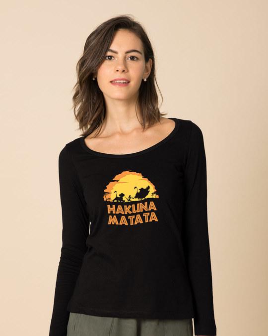 Shop Hakuna Matata Sunset Scoop Neck Full Sleeve T-Shirt (DL)-Front