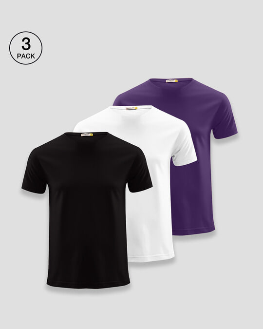 Shop Men's Half Sleeves T-Shirt Pack of 3 (Black,White & Parachute Purple)-Front
