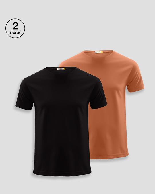 Shop Men's Plain Half Sleeve T-shirt Pack of 2(Black & Vintage Orange)-Front
