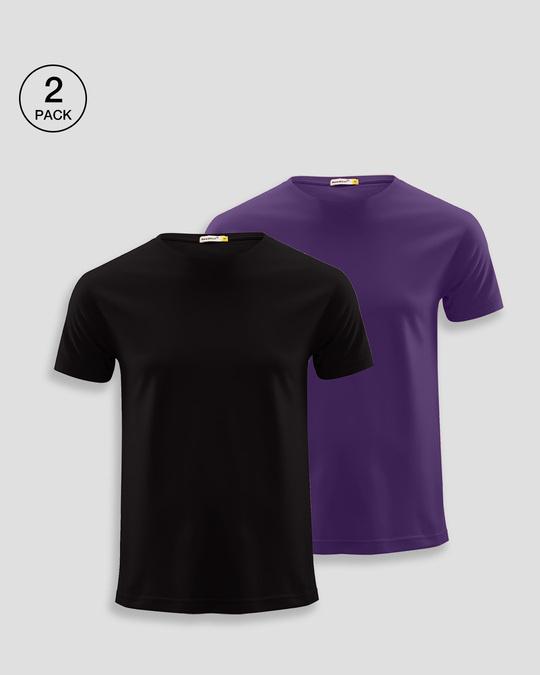 Shop Men's Plain Half Sleeve T-shirt Pack of 2(Black & Parachute Purple)-Front
