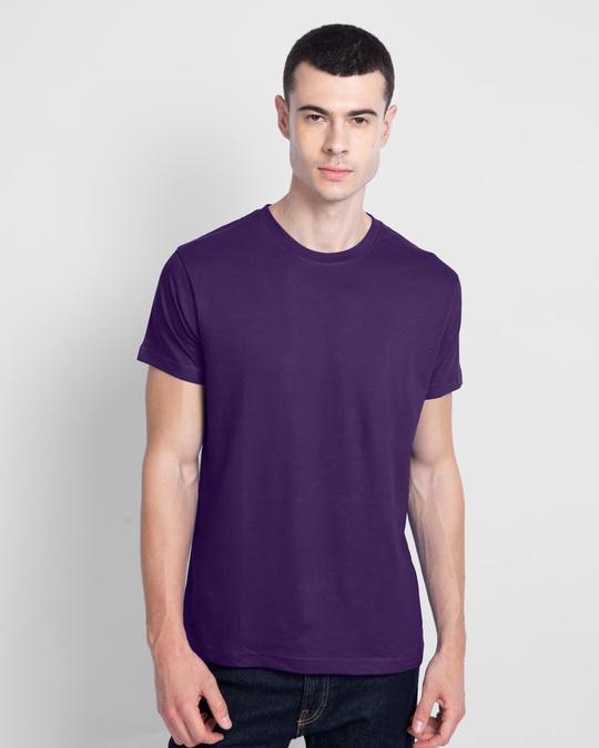 Shop Men's Plain Half Sleeve T-shirt Pack of 2(Black & Parachute Purple)-Design