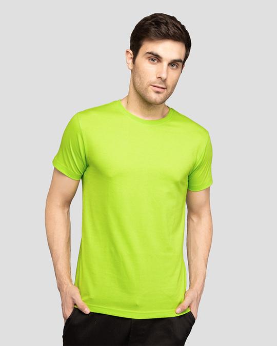 Shop Men's Plain Half Sleeve T-shirt Pack of 2 (Neon Green & Parachute Purple)-Back