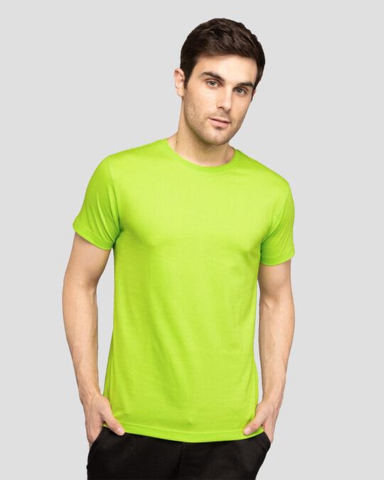 Shop Men's Plain Half Sleeve T-shirt Pack of 2 (Neon Green & Cherry Red)-Back
