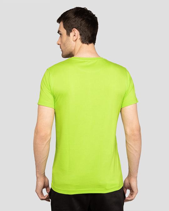 Shop Men's Plain Half Sleeve T-shirt Pack of 2 (Neon Green & Cherry Red)-Full