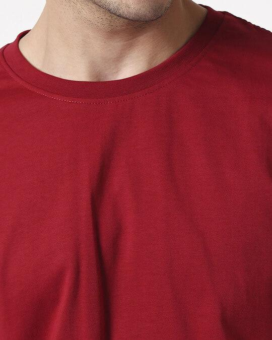 Shop Men's Plain Half Sleeve T-shirt Pack of 2 (Neon Green & Cherry Red)