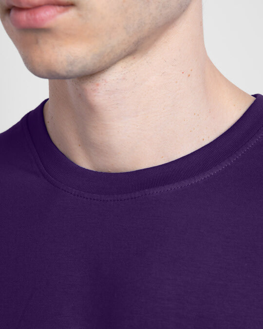 Shop Men's Plain Half Sleeve T-shirt Pack of 2 (Parachute Purple & Meteor Grey)