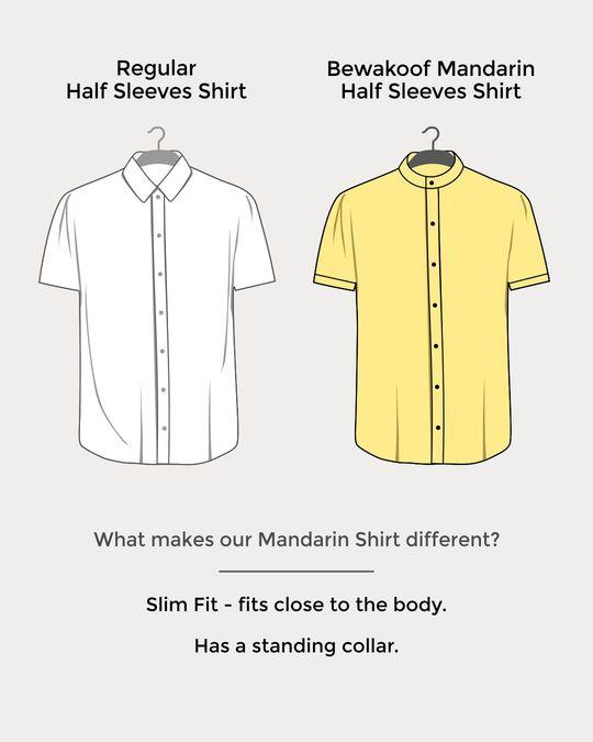 Shop Ice Blue Mandarin Collar Denim Half Sleeve Shirt-Design