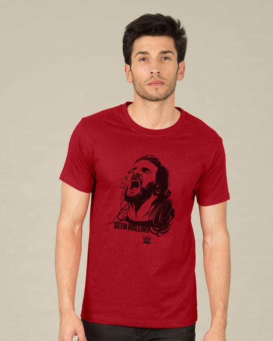 Shop Halftone Illustration Of Seth Half Sleeve T-Shirt (WWEL)-Back