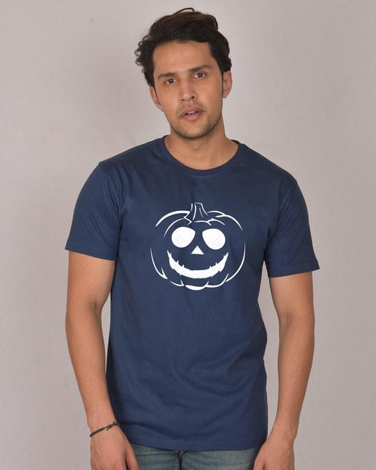Shop Halloween Pumpkin Glow In Dark Half Sleeve T-Shirt -Front