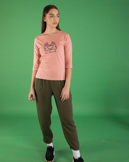 Shop Hand Heart Round Neck 3/4th Sleeve T-Shirt-Full