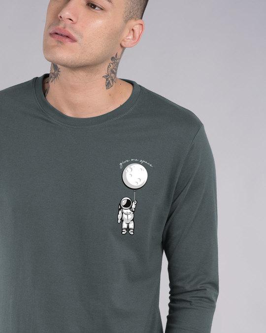 Shop Hanging Astronaut Pocket Full Sleeve T-Shirt-Front