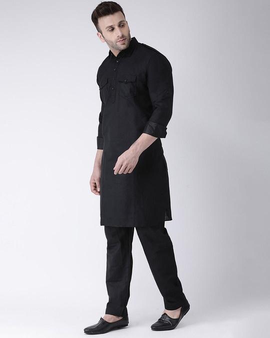 Shop Solid 2 Pics Ethnic Black Pathani Set-Back